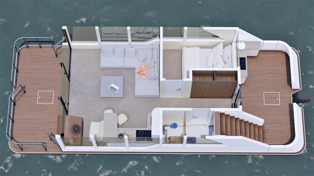 Luxusboot 2+2 Grundriss links