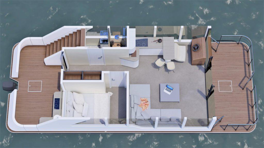 Luxusboot 2+2 Grundriss rechts
